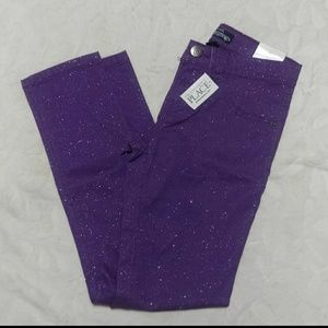 NEW! Purple Glitter skinny stretch Jeggings 10
